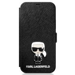 ETUI KARL LAGERFELD BOOK SAFFIANO IKONIK METAL DO IPHONE 12 PRO MAX (CZARNY)