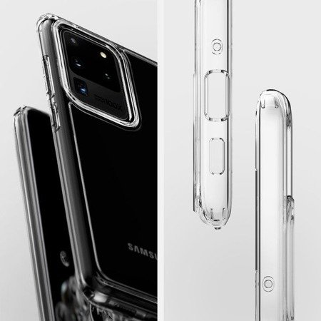 ETUI SPIGEN ULTRA HYBRID CRYSTAL CLEAR + SZKŁO HYBRYDOWE 3MK FLEXIBLEGLASS EDGE DO GALAXY S20 ULTRA