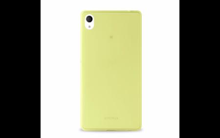 "Etui PURO Ultra Slim ""0.3"" Cover + folia na ekran Xperia M4 AQUA limonkowy żelowy"