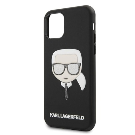 KARL LAGERFELD ICONIC EMBOSSED GLITTER CASE - ETUI IPHONE 11 PRO MAX (BLACK)