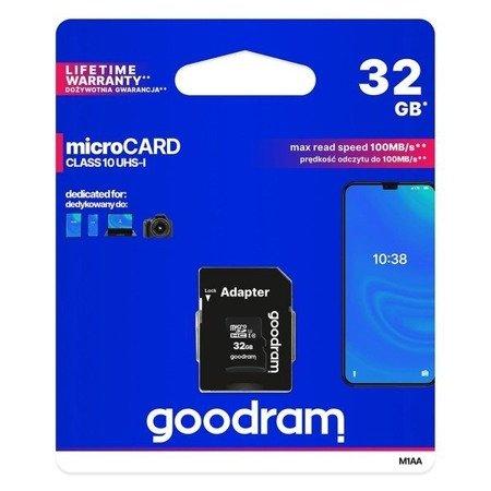 Karta pamięci Goodram Microcard 32 GB karta pamięci micro SD HC UHS-I class 10, adapter SD