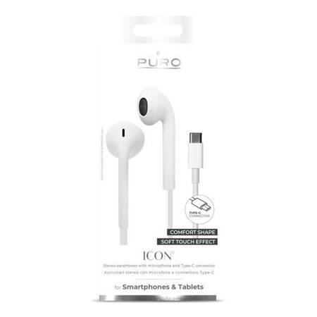 PURO ICON STEREO EARPHONES - SŁUCHAWKI USB-C Z PŁASKIM KABLEM Z MIKROFONEM I PILOTEM (BIAŁY)
